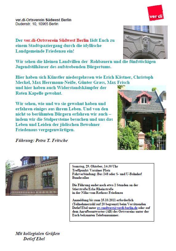 Einladung Stadtspaziergang am 29.10.2011 in Berlin