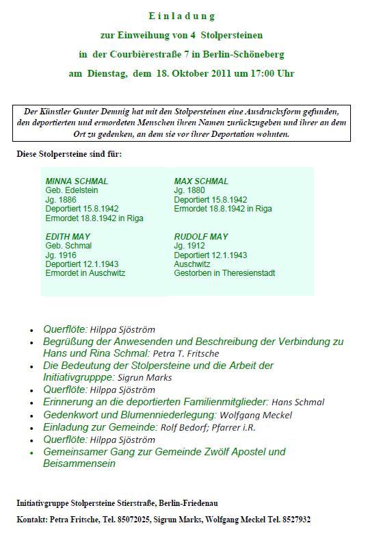 Einladung zur Stolpersteinverlegung am 18.10.11 in Berlin
