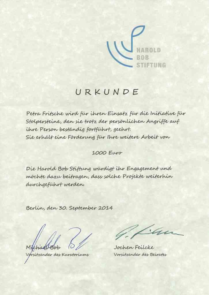 Urkunde-Harold-Bob-Stiftung