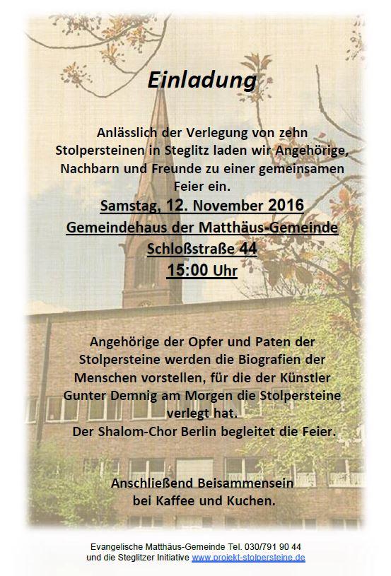 Einladung zur Verlegung von zehn Stolpersteinen in Steglitz am 18.11.2016
